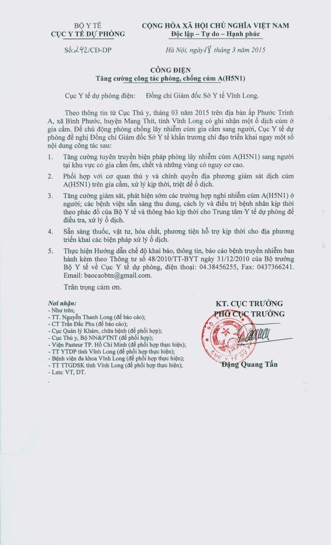 Công điện gửi Sở Y tế tỉnh Vĩnh Long về tăng cường phòng, chống cúm A(H5N1)