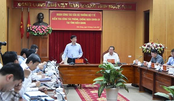 Đoàn công tác số 1 của bộ Y tế do Bộ trưởng Nguyễn Thanh Long làm trưởng đoàn kiểm tra công tác quản lý nhập cảnh, cách ly, giám sát y tế và triển khai tiêm vắc xin phòng chống dịch COVID-19 và làm việc tại tỉnh Kiên Giang